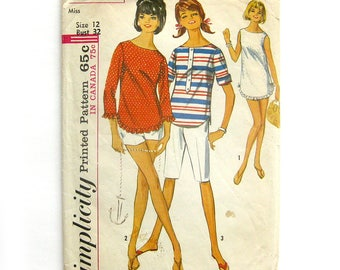 1960s Tunic Pattern / Shorts Pattern / Bermuda Shorts Pattern / Beach Cover Up Pattern / Simplicity 6019 / Size 12