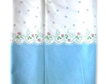 Vintage Cotton Fabric - 1950s FLORAL Border Print - Blue and White with Pink Roses