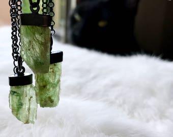 SEMI--ANNUAL SALE Raw kyanite necklace | Rough kyanite necklace | Green kyanite necklace | Rough stone necklace | Green stone necklace
