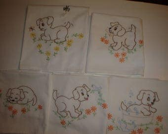 New Hand Embroidered dishtowels Puppies  Set of 5   Item #129