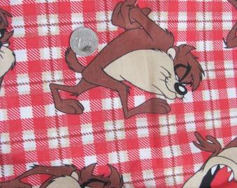 Vintage Tasmania Devil Flannel Fabric / Yardage 1995 Warner Brothers