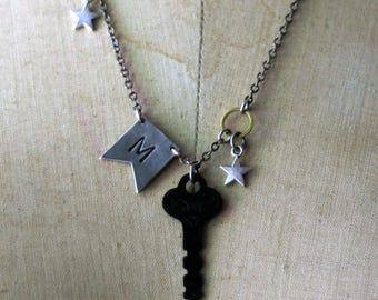 Personalized Antique Key Pendant, Initial Jewelry, Hand Stamped, Custom Key Necklace, Vintage Key, Flea Market Style, Pewter Flag