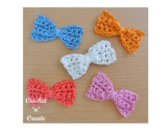 Small Bow Crochet Pattern (DOWNLOAD) CNC38