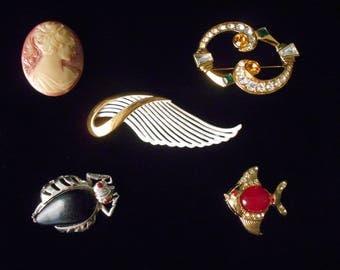 Vintage Cameo Pin, Rhinestone Monet, Black Bug, Jelly Belly Angelfish, Mixed Lot Brooch