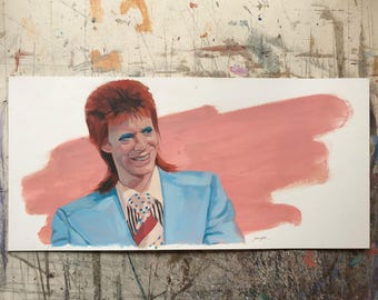 Hand painted portrait of David Bowie- unframed