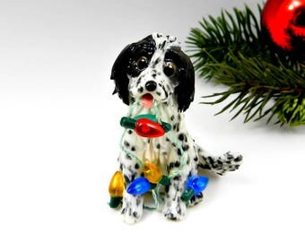 English Setter Blue Belton Christmas Ornament Figurine Porcelain