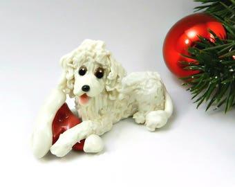 Poodle White Christmas Ornament Figurine Santa Hat Porcelain