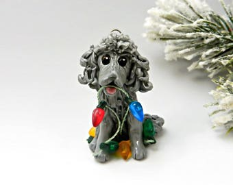 Poodle  Silver Christmas Ornament Figurine Handmade Porcelain