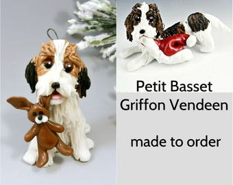 Petit Basset Griffon Vendeen Dog  Porcelain Christmas Ornament Figurine Made to Order
