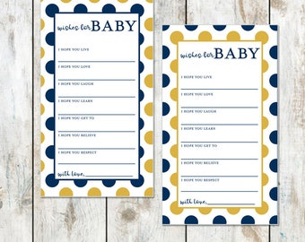 Fighting Irish Blue and Gold Baby Wishes Shower Game - Instant Download Baby Shower Game