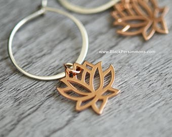 Renge Hoop Earrings - Small 18k Rose Gold Plated Sterling Silver Lotus FlowerFeng Shui Lian Hua Charms  - Insurance Included