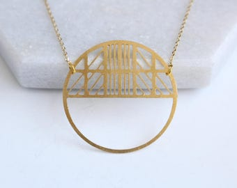 Art Deco Circle Necklace | ATL-N-187