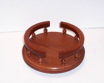 Lazy Susan with Rails Handcrafted from Cherry Hardwood