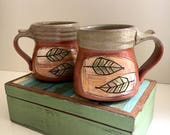 Pair of Mugs with Leaf Design