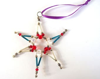 Red, Silver and Blue Beaded Christmas Star Ornament