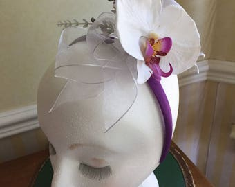 White Organza Bow with Orchid Head Band Fastinator