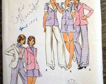 SAVE - ON SALE Vintage Butterick #3054 sewing pattern - Young Junior/Teens size 11/12 - Jacket, skirt and pants - probably from the 1970s