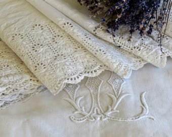 Lovely Old French  Broderie Anglaise Lace
