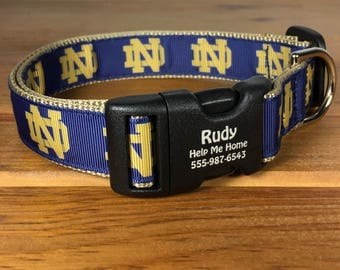 Notre Dame Fighting Irish Football Personalized Dog College Fans Made in USA Unisex Collar Gift for Notre Dame Fans