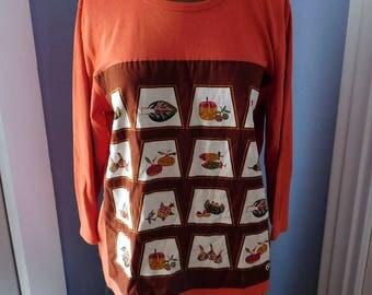 Upcycled Appliqued Long-Sleeved T-Shirt - Vintage Textile Panel - Gently Worn Baxter & Wells Cotton / Poly Blend - Burnt Orange Harvest Fall