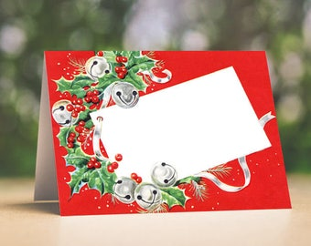 Christmas Wedding Place Cards Vintage Style Jingle Bells Holly Tent Style Place Cards or Table Place Cards #194