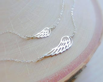 Mother Daughter Jewelry SET, Big & Little Angel Wing necklace set, First day of school, kindergarten, dainty layering set, mom and child