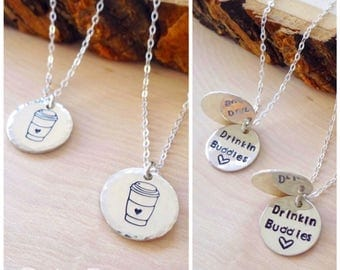 Best friends necklace set, sterling silver, hand stamped, coffee lovers, barista, coffee cups, drinking buddies, friendship jewelry, Otis B