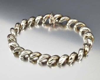 Modern Minimalist Silver San Marco Bracelet, Vintage Sterling Silver Bracelet, Stacking Banglet, Italian Jewelry, Modernist Bracelet