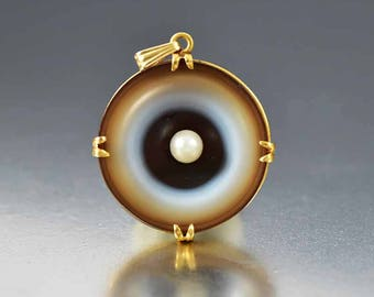 Antique Banded Agate Necklace | 14K Gold Cultured Pearl Necklace | Antique Bulls Eye Agate Charm | Victorian Pendant | Antique Carved Agate