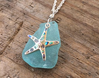 Light Green Blue Sea Glass and Starfish Necklace