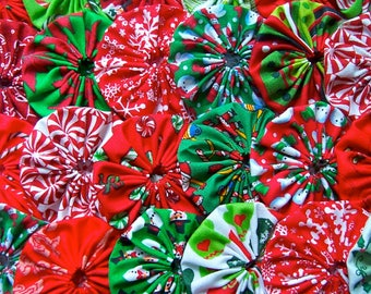 Fabric CHRISTMAS Applique 1 Inch 60 YO YO Headband Barrette Hair Clip Trim