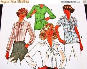 SALE 25% Off 1970s Blouse Pattern, Plus Size 18 20, UNCUT, Women's Top Pattern, Vintage Sewing Pattern, Long Sleeve, Short Sleeve Blouse wit