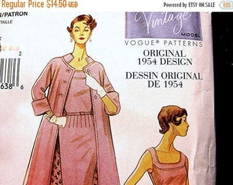 on SALE 25% Off Retro Vogue Pattern 1950s Dessin Original Model 50s Dress with Coat Misses Size 8 10 12 14 UNCUT Sewing Pattern