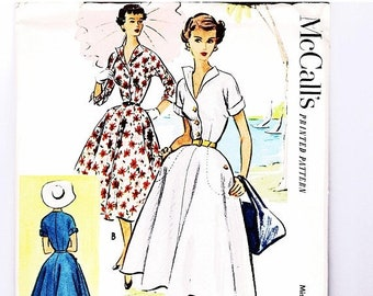 ON SALE 25% Off 50s Full Skirt Rockabilly Shirtdress Pattern McCall's Vintage Sewing Pattern Size 16 Bust 34 inches UNCUT