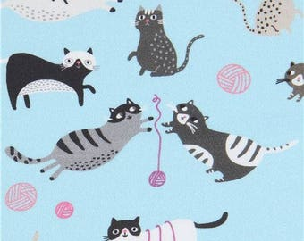 218259 blue Robert Kaufman cat animal fabric Whiskers and Tails Digital Print