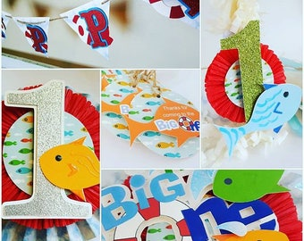 Its the BIG ONE Party Set. 1st birthday party, big one birthday party, fish birthday party, little boy birthday party,