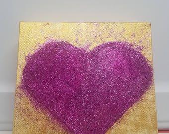 6x6 mixed media acrylic and glitter painting