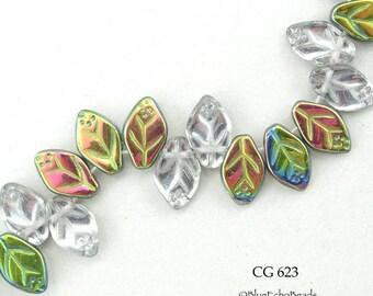 12mm Czech Glass Leaf Bead, Green Bronze AB, 12 x 7mm (CG 623) 25 pcs BlueEchoBeads