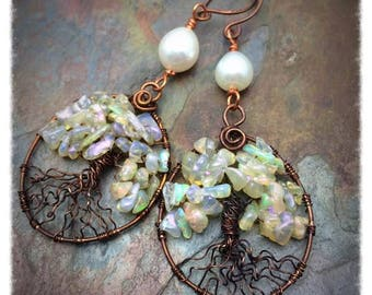 Genuine Opal and Pearl Trees of Life Earrings, Ready to Ship, Free Shipping in the USA, Artisan Jewelry, Inspirational
