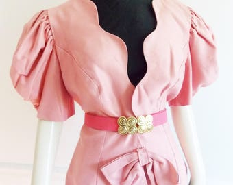 Vintage 1980s pink blazer jacket / 80s scalloped designer jacket/ 80s puffed balloon sleeve jacket