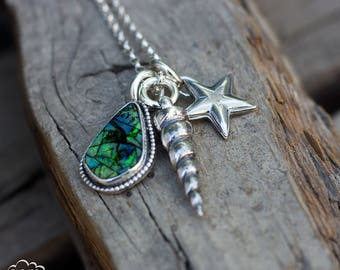 Sterling silver cast unicorn horn with cultured opal charm necklace - Magical Creatures -