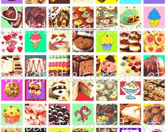 Yum Yum Sweetie Inchies Digital Collage Sheet 1x1 Inch Squares 63 Different Images Scrapbooking