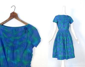 20% off sale Vintage 1950s Dress | Aurora Borealis Dress | 50s Dress | XS S