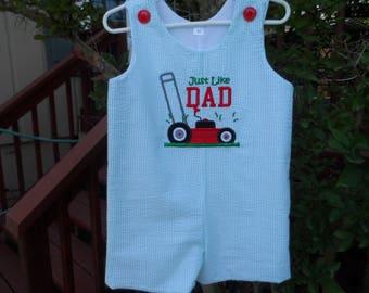 Boy's Father's Day Mow Like Dad Jon Jon Romper sizes 6 mo. - 3T Handmade