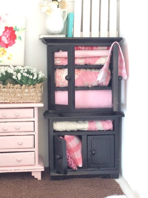 Black Miniature Dollhouse Linen Cabinet -1:12 scale
