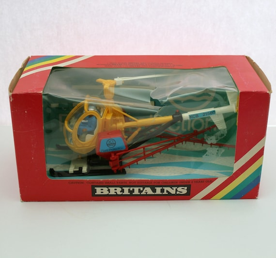 Vintage Britains Crop Duster Helicopter Toy NIB NOS, 1980 ICI Plant Protection Aircraft in Box