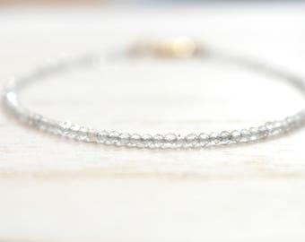teeny labradorite beaded bracelet.  very thin labradorite stackable bracelet. labradorite string bracelet. labradorite beaded jewelry
