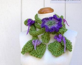 knitting pattern . Garden Lariat pattern . skinny scarf knit flowers leaves vine instructions tutorial . wearable fiber art knitting pdf