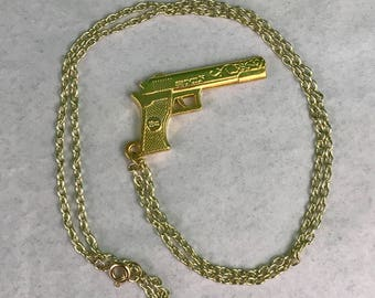 Gold Tone Pistol Necklace New Gift