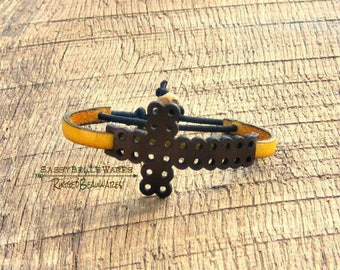 Leather Cross Bracelet brown yellow spiritual inspirational faith hope gratitude positive attitude thin band unisex rustic Christian